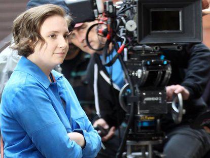 Lena Dunham, na gravação de 'Girls'.