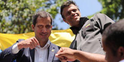 Juan Guaidó e Leopoldo López em 30 de abril de 2019, em Caracas.