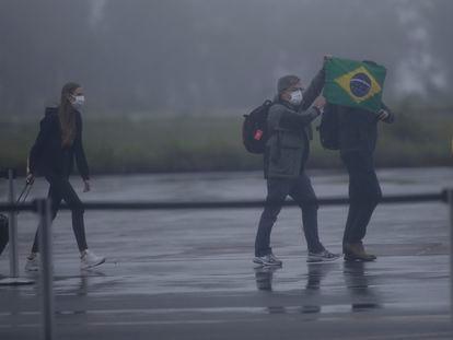 Brasileiros repatriados da China por conta da epidemia de coronavírus chegam em Anápolis.
