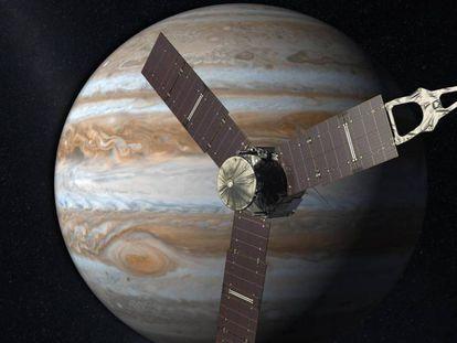 Representação da nave 'Juno' em seu caminho para Júpiter.