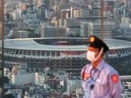 The National Stadium, the main venue of the Tokyo 2020 Olympic Games, is photographed from Shibuya Sky observation deck in Tokyo, Japan, July 19, 2021.   REUTERS/Kai Pfaffenbach