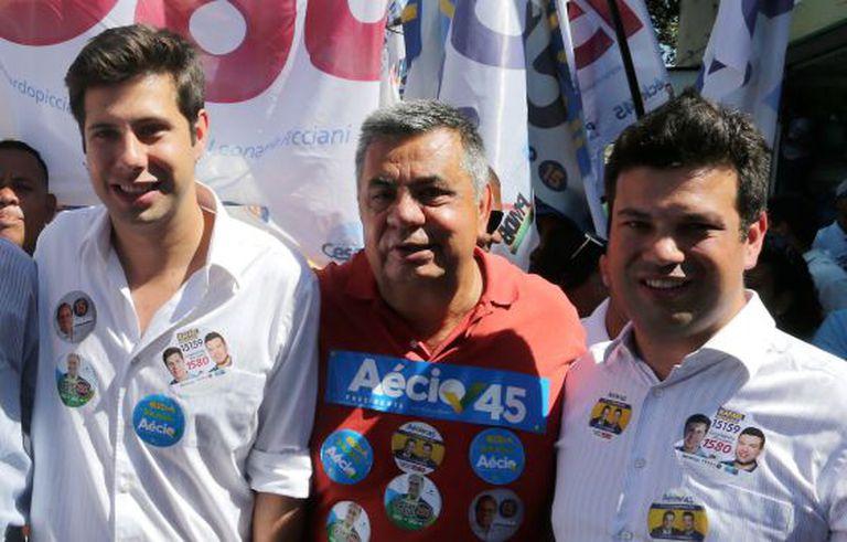 Rafael, Jorge e Leonardo Picciani em campanha por Aécio no Rio.