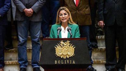 Jeanine Áñez, quando era presidenta interina da Bolívia, em foto de arquivo.