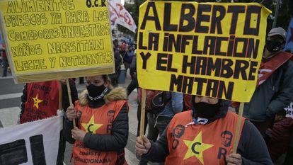 Manifestação em junho contra a fome em Buenos Aires.