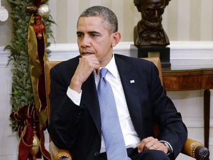 O presidente dos EUA, Barack Obama, no Salão Oval.