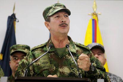 O comandante do Exército colombiano, Nicacio Martínez Espinel, durante um comparecimento público em 20 de maio.