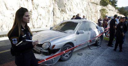 O carro da palestina acusada de causar uma explosão pela policial israelense.