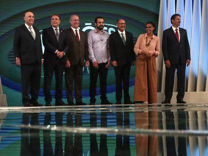 Os candidatos à presidência, Henrique Meirelles, Alvaro Dias, Ciro Gomes, Guilherme Boulos, Geraldo Alckmin, Marina Silva e Fernando Haddad.