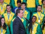 Presidente Jair Bolsonaro recebe medalhistas dos Jogos Pan-Americanos Lima 2019 no Palácio do Planalto, em Brasília. Data: 16.08.2019. Foto: Abelardo Mendes Jr/ Ministério da Cidadania
