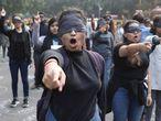 Activistas participan en una protesta en Nueva Delhi (India), el 7 de diciembre.