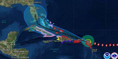 Trajetória do furacão Irma