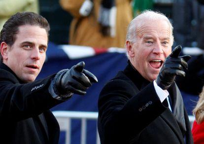 Joe Biden e seu filho Hunter no dia da posse de Barack Obama em janeiro de 2009.