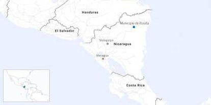 Mapa da Nicarágua.