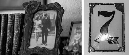 Foto de Joachim Rudolph e sua esposa, Eveline, e a placa que ele pendurou em sua casa para recordar a casa onde estava o túnel que, durante um tempo, uniu as duas metades de Berlim.