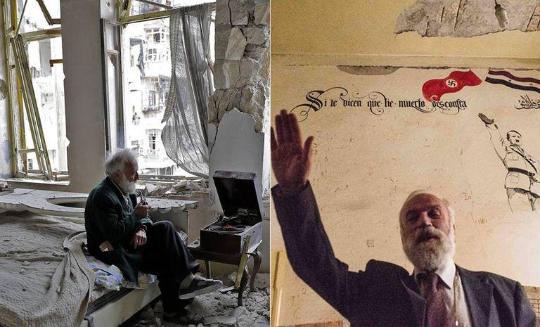 Mohamed Mohiedin Anis, na esquerda na foto da AFP em março. Na imagem da direita, faz a saudação nazista na sala de sua casa no bairro de Shaar em Aleppo em 17 de novembro.