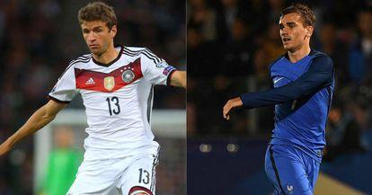 Muller e Griezmann: goleadores de França x Alemanha.