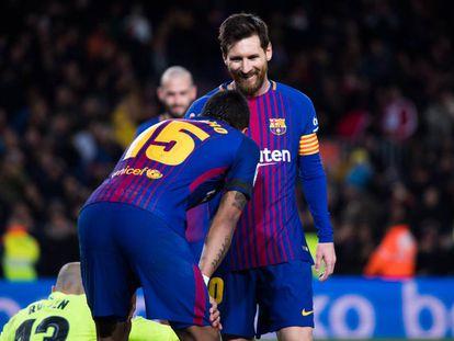 Paulinho e Messi, no último duelo do Barça, com o Deportivo.