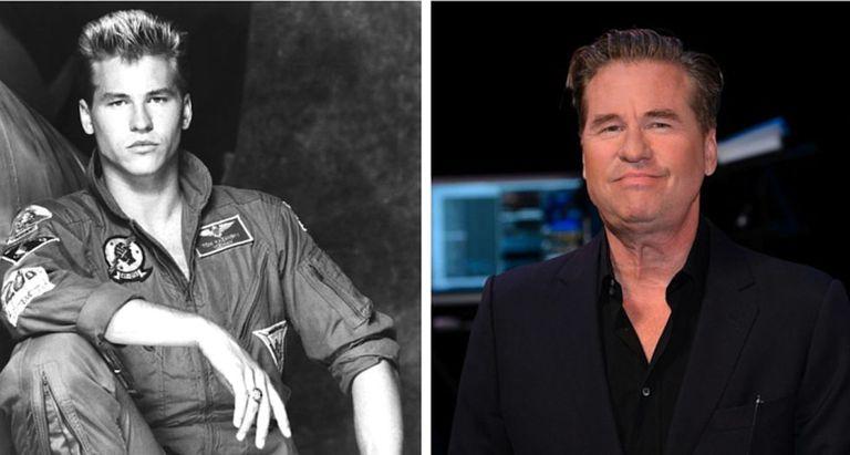 À esquerda, um atraente Van Kilmer em 'Top Gun' (1986); à direita, em evento recente em Los Angeles.
