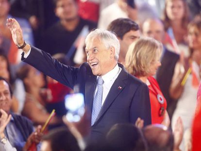 Sebastián Piñera, durante a apresentação de sua candidatura, em 21 de março.