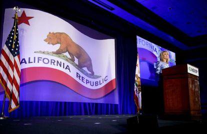 Ashley Swearengin, candidata republicana a interventora da Califórnia, na convenção de seu partido em Los Angeles.