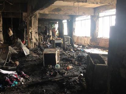 Andar atingido por incêndio na Ocupação Prestes Maia, no centro de SP.
