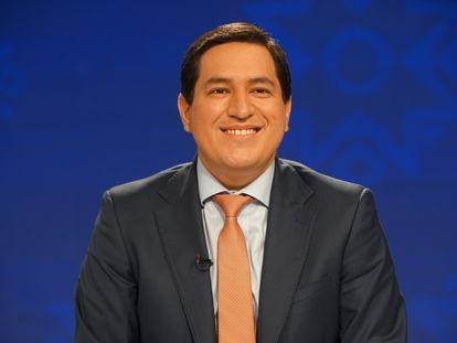 O candidato à presidência do Equador, Andrés Arauz, durante debate em Guayaquil.
