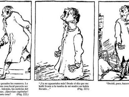 Detalhe da história em quadrinhos 'Minha Luta', desenhada por Clément Moreau em 1937 para ridiculizar o livro do ditador nazista.