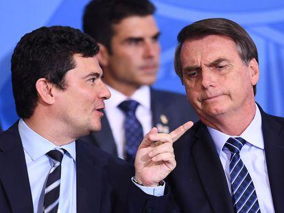 O ex-ministro Sergio Moro e o presidente Jair Bolsonaro, em um evento em Brasília em 2019.