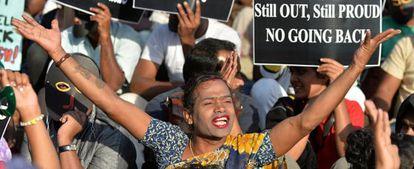 Ativistas homossexuais da Índia.