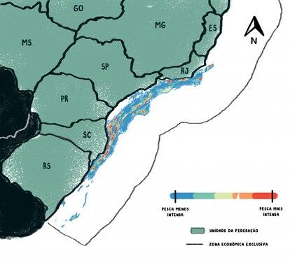 Áreas mais (vermelho) e menos (azul) usadas por barcos de arrasto no litoral das regiões Sul e Sudeste. Fonte: Programa Nacional de Rastreamento de Embarcações Pesqueiras por Satélite / 2019.