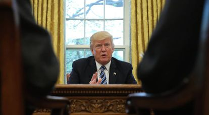 Donald Trump durante sua entrevista à Reuters.
