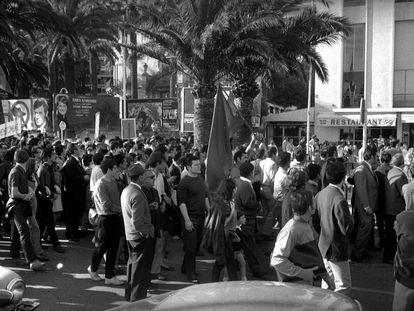 Manifestação no Festival de Cannes, em maio de 1968.