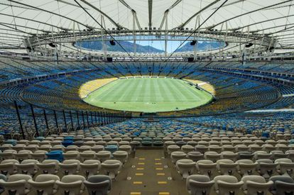 Visão geral do estádio do Maracanã, no Rio de Janeiro.