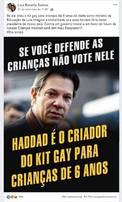 """""""Se você defende às crianças não vote por ele. Haddad é o criador do kit gay para crianças de 6 anos"""""""