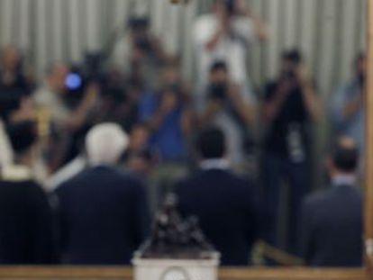 O primeiro ministro grego, Alexis Tsipras, no sábado, na posse de seus novos ministros.