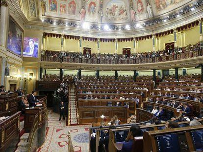 O Parlamento espanhol durante a primeira sessão da fracassada recondução de Mariano Rajoy à chefia de Governo.
