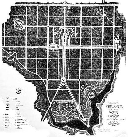 Plano feito em 1955 da futura capital do Brasil, Vera Cruz (imagem: Reprodução/Agência Brasília) Fonte: Agência Senado