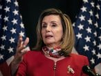 U.S. Speaker of the House Nancy Pelosi (D-CA) talks to reporters about Election Day results in races for the House of Representatives, at Democratic National Committee headquarters on Capitol Hill in Washington, U.S., November 3, 2020. Alyssa Schukar/Pool via REUTERS