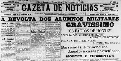 Jornal noticia a Revolta da Vacina e tentativa de golpe militar.