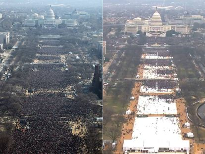 Posse de Obama (esquerda) em 2009 e de Trump nesta sexta-feira (direita).