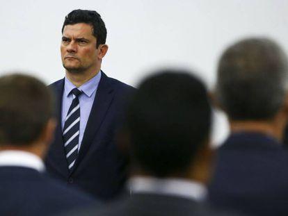 Sergio Moro, ministro da Justiça, cujas conversas foram reveladas por reportagem do 'The Intercept Brasil', em uma imagem de arquivo.
