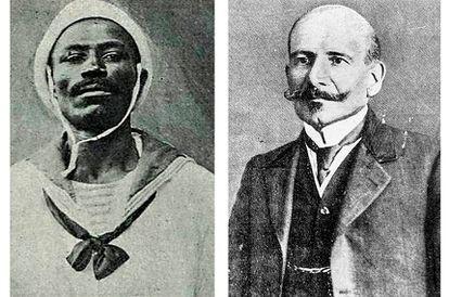 João Cândido, apelidado de Almirante Negro; e Hermes da Fonseca, o presidente da República.