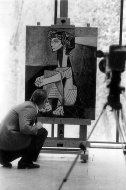 'Jacqueline de Cócoras' (1954), uma das 61 obras exibidas na exposição 'Pablo Picasso em Madri' no MEAC, que fazem parte da coleção particular de sua viúva, Jacqueline.