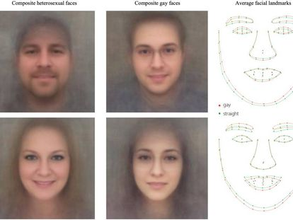 Imagem do estudo, que supostamente mostra traços faciais homossexuais e heterossexuais