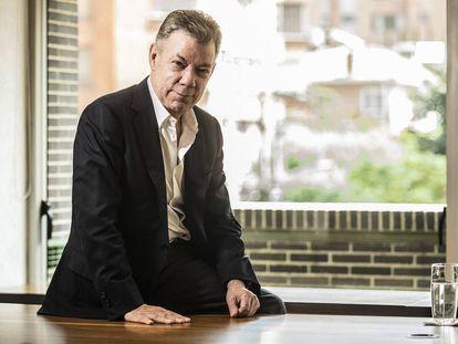 O ex-presidente da Colômbia Juan Manuel Santos, em seu gabinete depois da entrevista