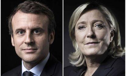 Macron (à esq.) e Marine Le Pen, favoritos nas primeiras pesquisas.