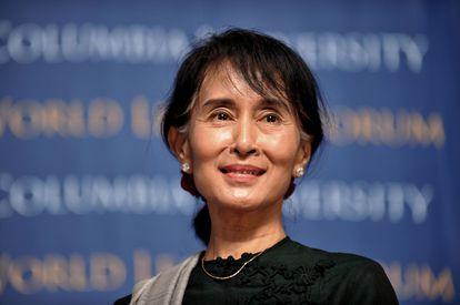 A Nobel da Paz Aung San Suu Kyi, na Universidade de Columbia  (EUA), em 2012.