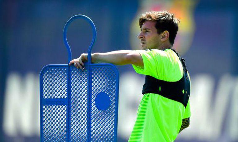 Messi, no último treinamento de Barcelona.