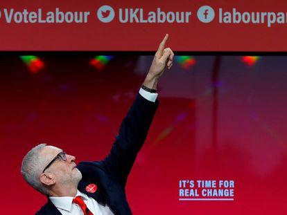 Jeremy Corbyn ao apresentar seu programa de Governo, no dia 21 de novembro, em Birmingham (Reino Unido).
