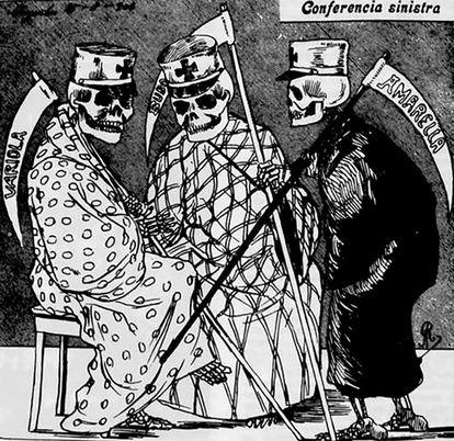 Charge sobre as doenças mais letais do Brasil na virada do século 19 para o 20.